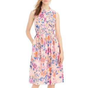 J. Crew Liberty Ruffle Neck Pavilion Floral Dress